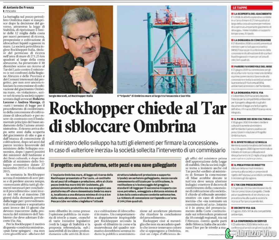 OMBRINA - Rochkopper presenta un ricorso al TAR - Cronaca