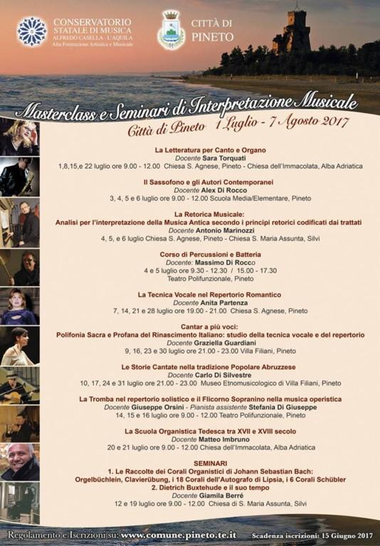 cerrano MASTERCLASS E SEMINARI ESTIVI DI INTERPRETAZIONE MUSICALE CITTÀ DI PINETO - 2° EDIZIONE LUGLIO 2017