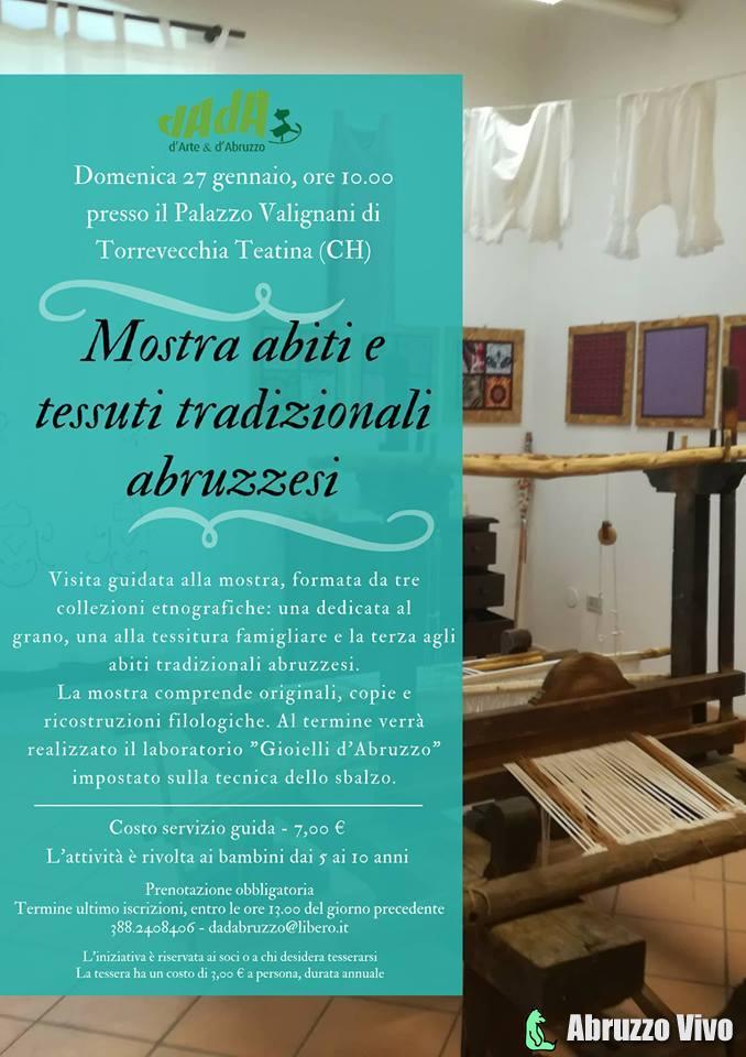 Mostra-abiti-e-tessuti Mostra abiti e tessuti tradizionali con laboratorio per bambini Palazzo Valignani, Torrevecchia Teatina